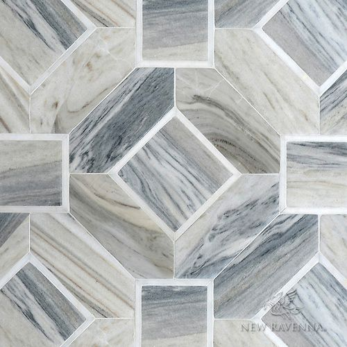 Almerita A Hand Cut Stone Mosaic Shown In Venetian Honed Horizon Dark And Polished Afyon White Designed By Paul Schatz For New Ravenna