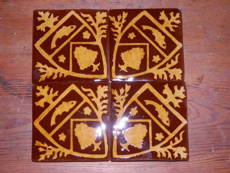 Heraldry - inlaid medieval-style tiles by Tanglebank Tiles