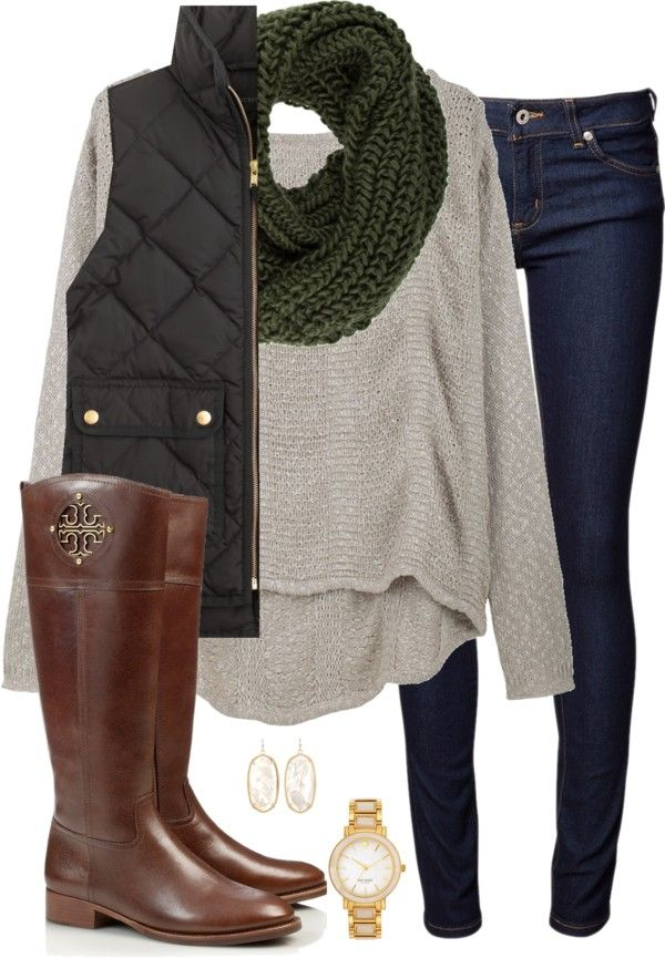 bundled up by tex-prep featuring equestrian riding boots ❤ liked on Polyvore Helmut Lang long sleeve top / J Crew quilted vest / Naked & famous jeans, $175 / Tory Burch equestrian riding boots / Kate...