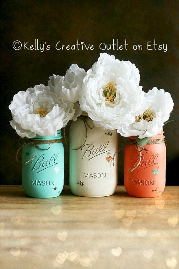 Cream, Coral and Teal - Shabby - Hand Painted Mason Jar - Vase - Home Decor  - Valentine-Wedding Centerpieces-Baby Shower on Etsy, $26.00
