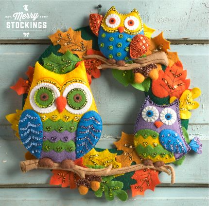 Owls Felt Applique Wreath from Bucilla. Available 8/22/14 at MerryStockings.