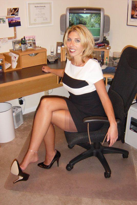 Mature ladies in black stockings