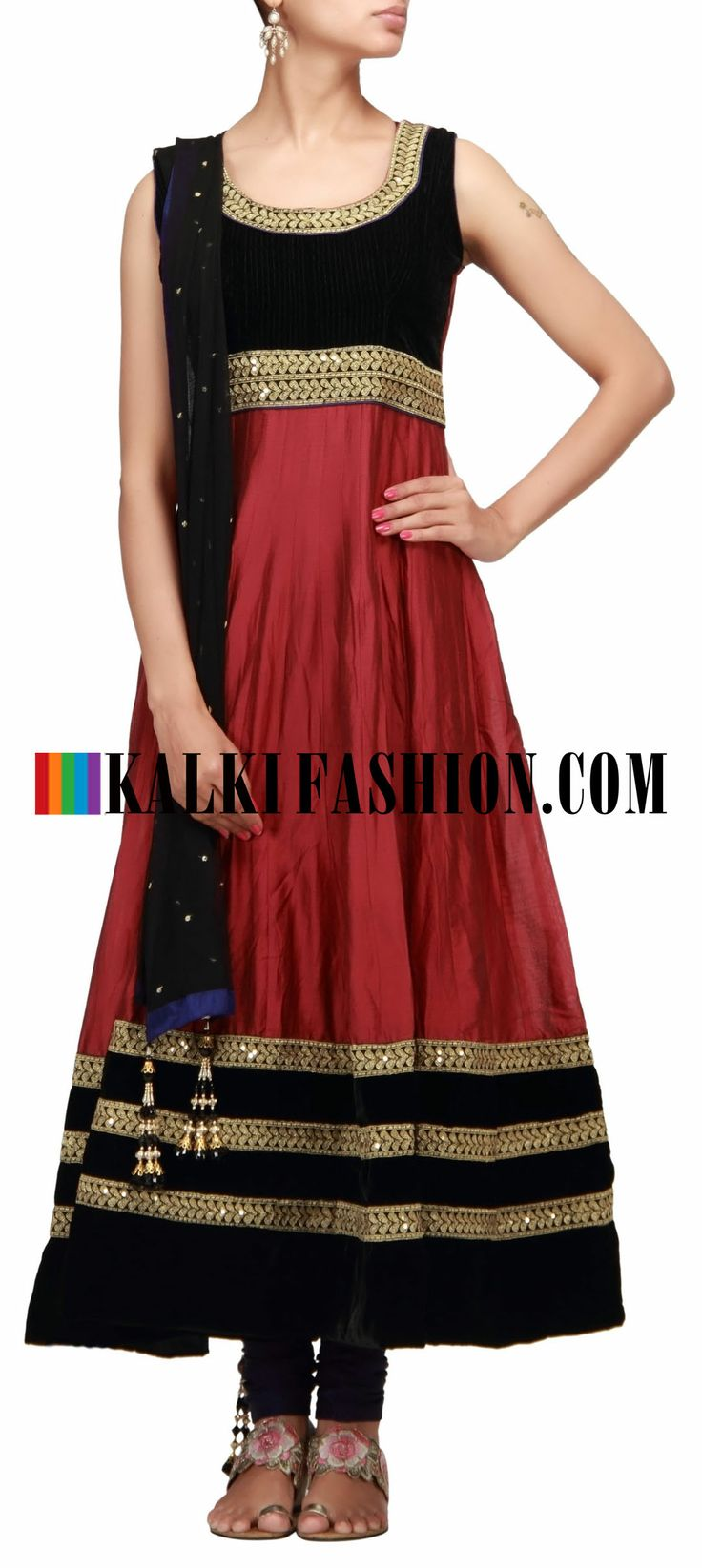 Buy Online from the link below. We ship worldwide (Free Shipping over US$100) http://www.kalkifashion.com/anarkali-suit-embellished-in-zari.html Anarkali suit embellished in zari