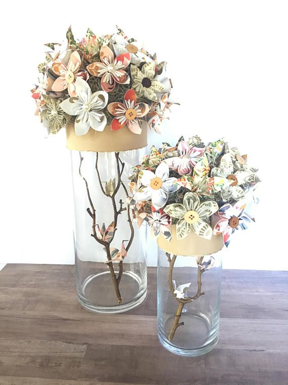 Origami Centerpiece Wedding Decor Paper Flower Decor Rustic Paper