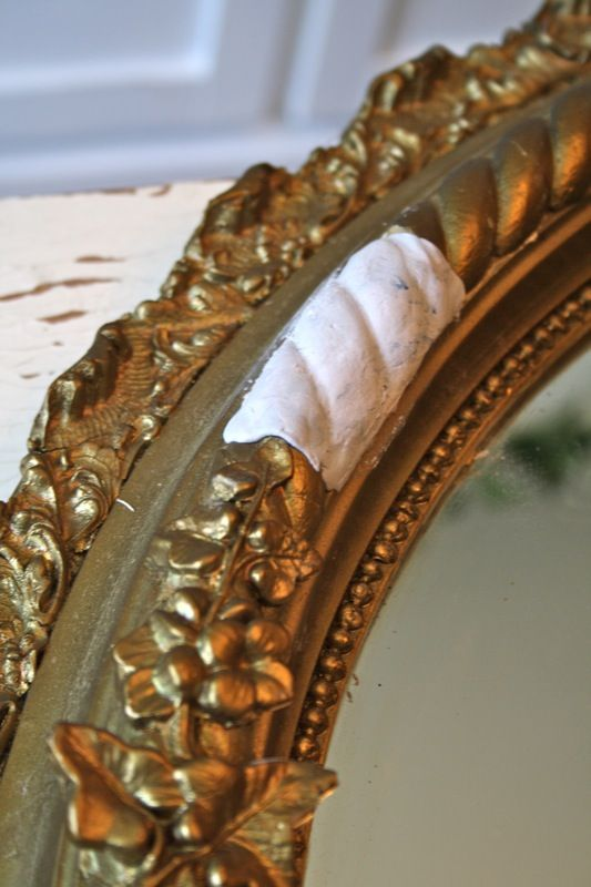 Never pass up a damaged Gesso frame or mirror  Here's an easy way to repair it   This mirror was missing gesso in two areas ...