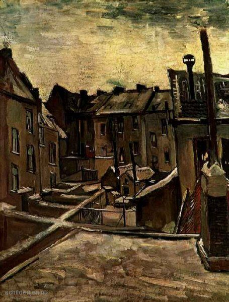 Schilderij Achtertuinen van de oude huizen in Antwerpen in de sneeuw
