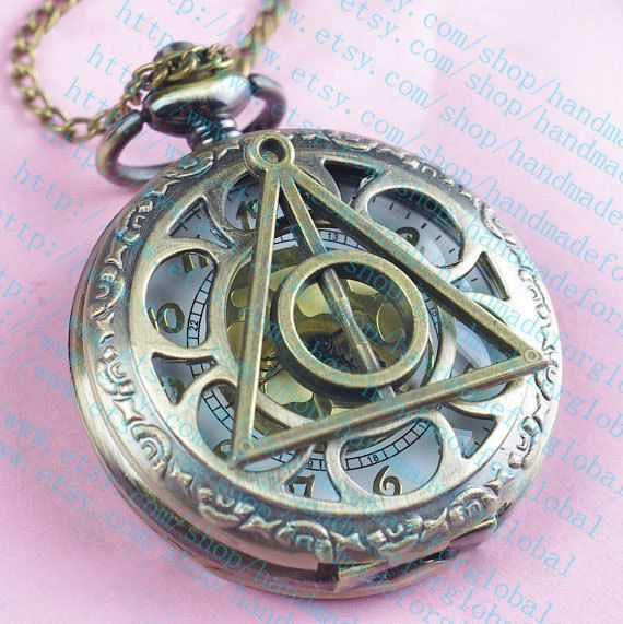 Harry Potter Deathly Hollows Pocket Watch necklace,Golden Dial Pocket Watch necklace on Etsy, $6.99
