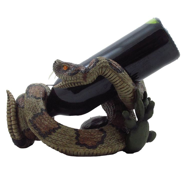 Southwestern Rattlesnake Wine Bottle Holder Sculpture with Cactus for Southwest Bar & Decorative Kitchen Wine Racks and Stands Decor - Great Snake Gift Idea for Arizona Diamondbacks Fans - ADDITIONAL INFO @ http://www.allaboutkitchenware.com/storage/101070/?jmy