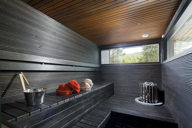 Dark and minimalistic sauna. #Honka