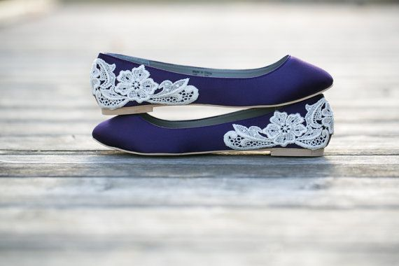 Wedding Shoes - Purple Wedding Shoes/Purple Wedding Flats with Ivory Lace. US Size 10 on Etsy, $67.00