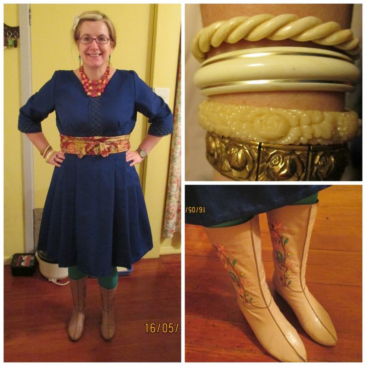 Vintage home-made polyester dress, $3 Toffs, obi belt made by me, pink embroidered boots from Savemart, various vintage bangles and bracelet, vintage beads from the Hospice Shop.