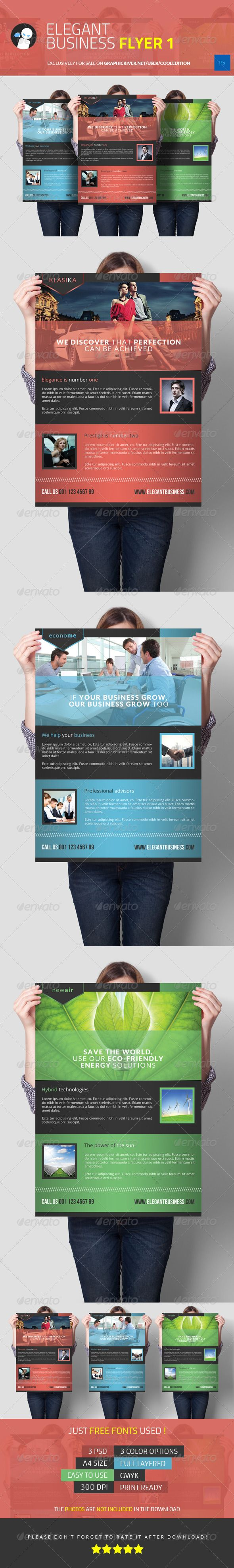 Elegant Business Flyer 1  #GraphicRiver             Elegant Business Flyer 1  Suitable for:   • Products  • Services  • Corporations, Business and professionals     Description:     • 3 .PSD Files  • 1 TEXT file  • 1 JPEG Image with instructions to rate the file     Specifications:     • 3 Color Options  • Photoshop CS4+ Compatible  • A4 Size  • Full Layered  • Easy to Use & Organized Layers  • Print Ready  • 300 DPI  • CMYK     Just free font used:     • Lato  .google /fonts  •…
