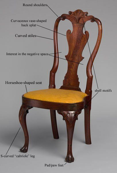 Style Glossary: Queen Anne Colonial Queen Anne style, typified by this chair (Philadelphia 1740-60), flourished in 18th century America