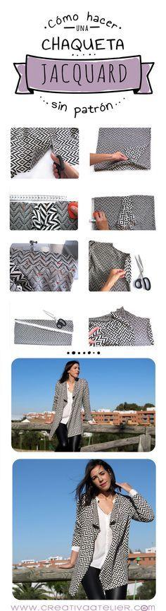 Cómo confeccionar una chaqueta jacquard sin necesidad de patrón #costura #DIY                                                                                                                                                      Más                                                                                                                                                                                 Más