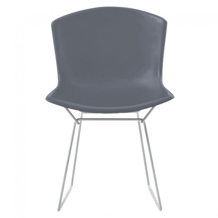 Bertoia Plastic Side Chair Grey with Chrome Base