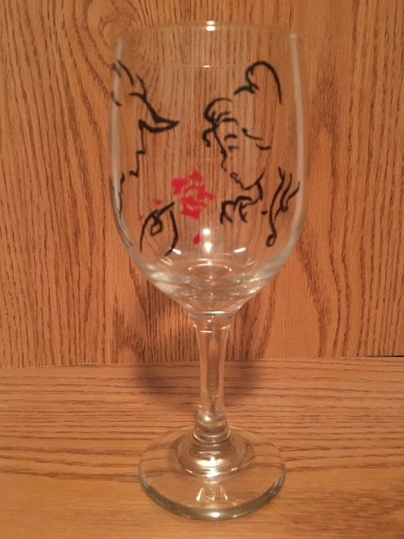 Beauty And The Beast Themed Wine Glasses By
