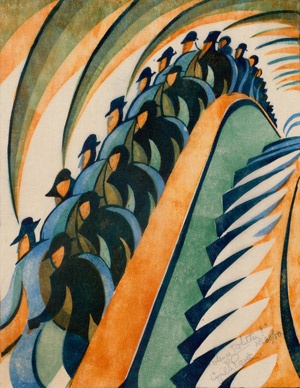 Whence and Whither (The Cascade) - linocut by Cyril E. Power C1930