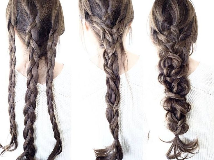 long hair | 3 streng braid | pancaked