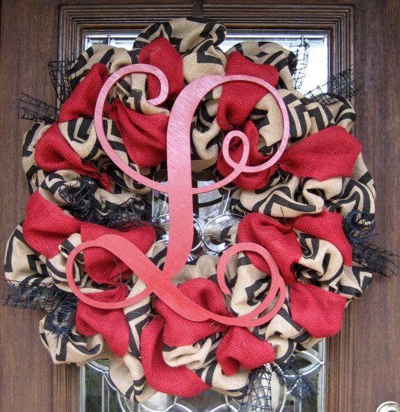 30 CHEVRON BURLAP INITIAL Wreath by decoglitz on Etsy