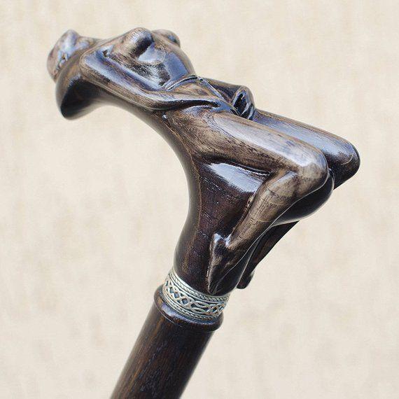 Antique Wooden Walking Cane Mermaid Head Brass Handle Vintage Stick New Gift