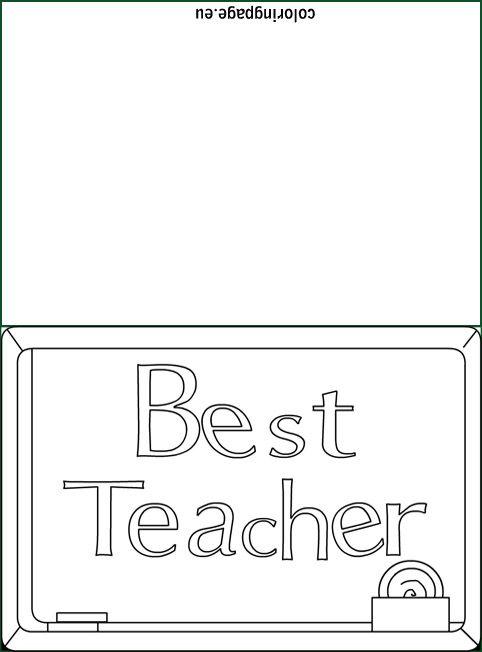 best teacher colouring card