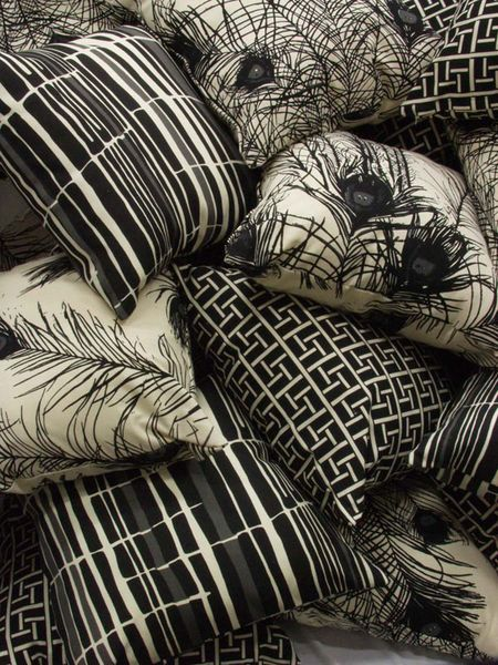 Florence Broadhurst textile designs on pillows