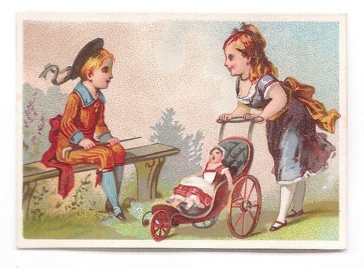 La Poupée - - Poussette Enfant Jeu Fillette - Chromo E Larue - Trade Card