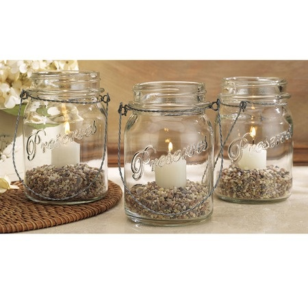 Vintage Rope Handle Mason Jars $3 each fill with sand for outdoor