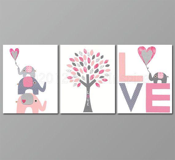 Love Pink and grey  Nursery Art  nursery room by SugarInspire, $14.95