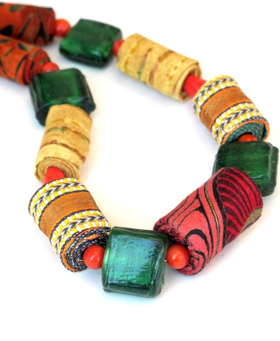 Oriental mixed fiber necklace in fall shades by Gilgulim on Etsy, $41.00