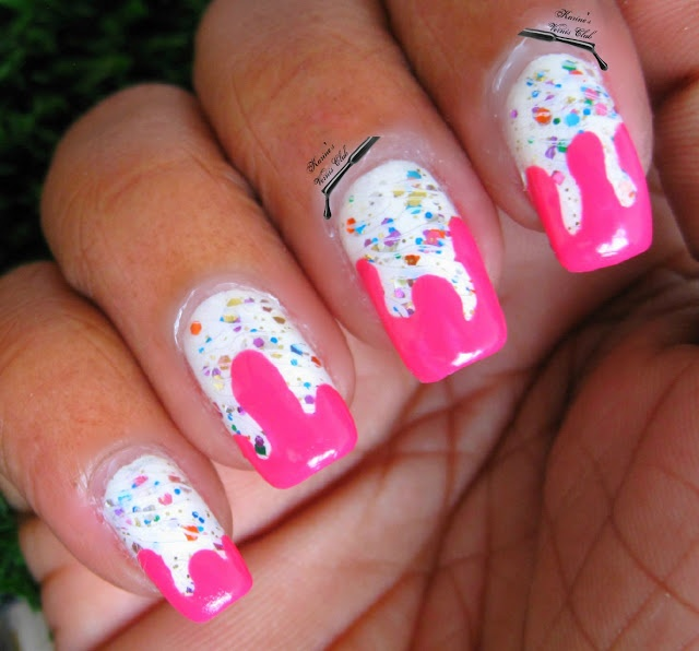 444 best nails images on pinterest dripping paint nail nail and dripping nail art looks like frosting prinsesfo Choice Image