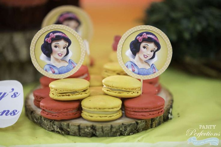 Macarons at a Snow White birthday party! See more party ideas at CatchMyParty.com!