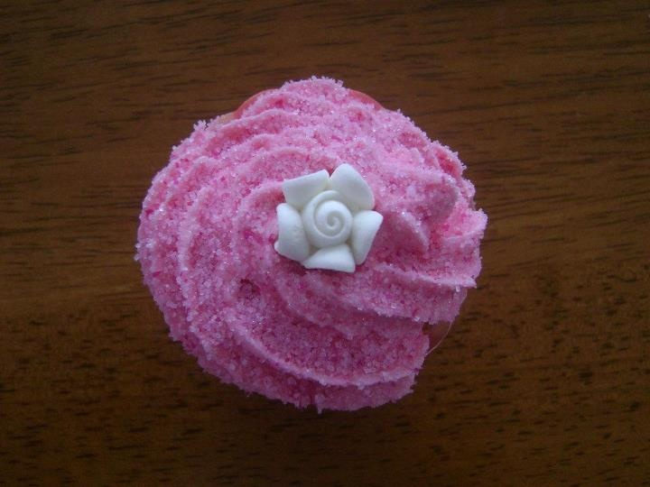 Fairy Cupcakes A Vanilla Cupcake With Pink Icing Dusted With Strawberry Sprinkles Topped With A Sugar Flower. Yum