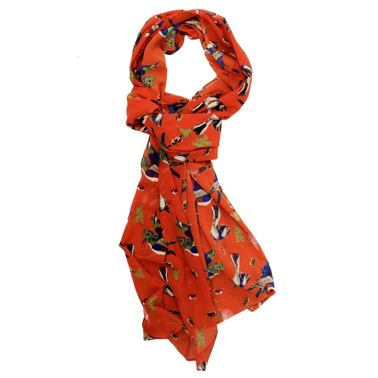 Evelyn Bird Print Scarf (Rust)