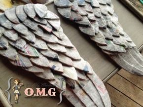paper mache wings (in process, painted white at end with a little minwax aging)