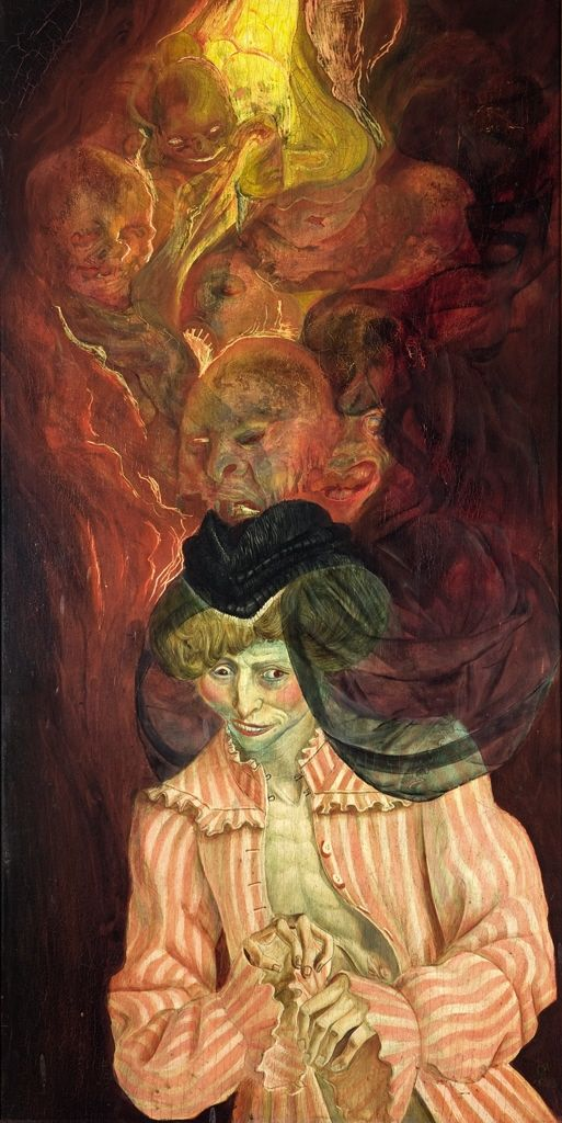 amare-habeo:  Otto Dix   (German, 1891 - 1969)  The Insane, 1925 tempera on panel, 120,4 x 61,5 cm