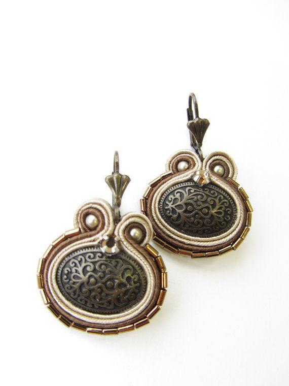 Button Soutache earrings by Violetbijoux on Etsy, $49.00