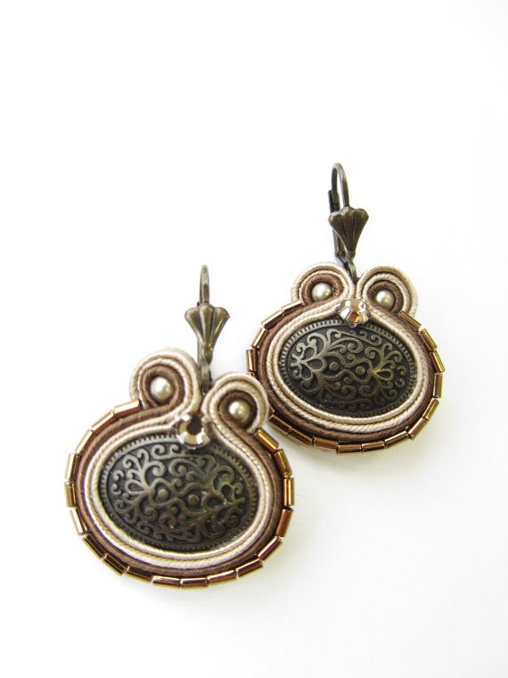 Button Soutache earrings by Violetbijoux on Etsy, $49.00