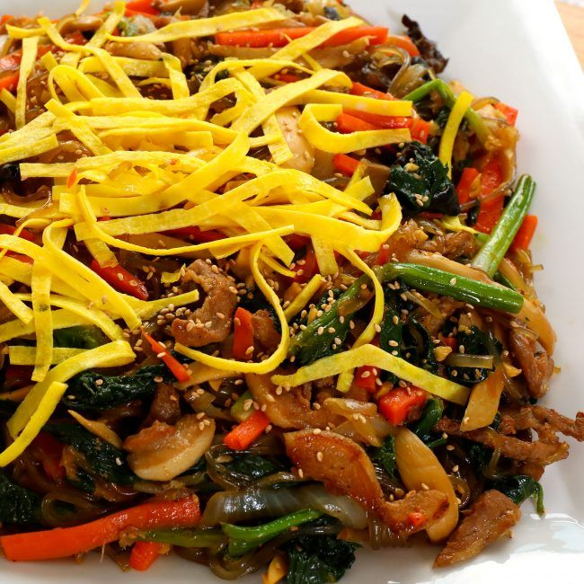 Easy Japchae Korean Stir Fried Noodles And Vegetables Recipe Vegetable Recipes Japchae Delicious Healthy Recipes