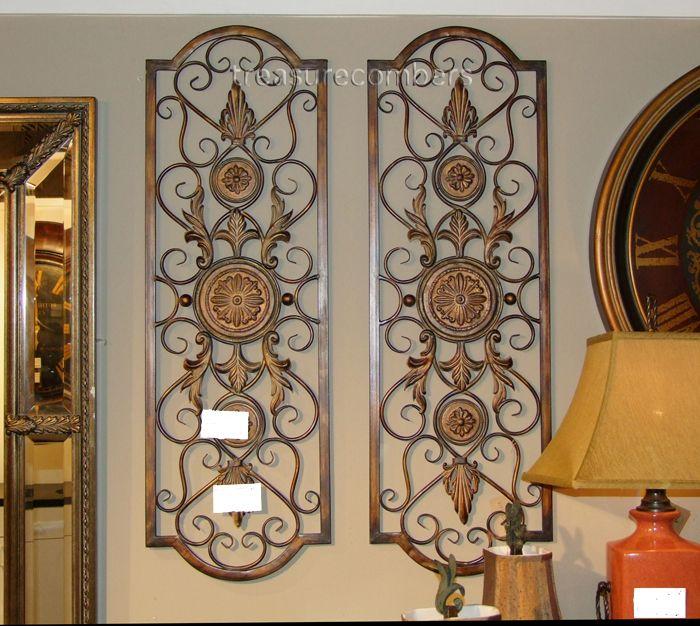 tuscan metal wall decor 42 iron scroll tuscan wall grille gold grill panels - Tuscan Wall Decor