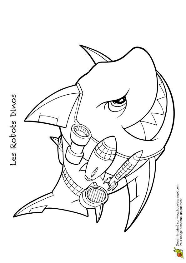 Un Dangereux Robot Dinos Avec Une Tete De Requin Dessin A Colorier