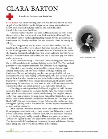 Worksheets: Clara Barton