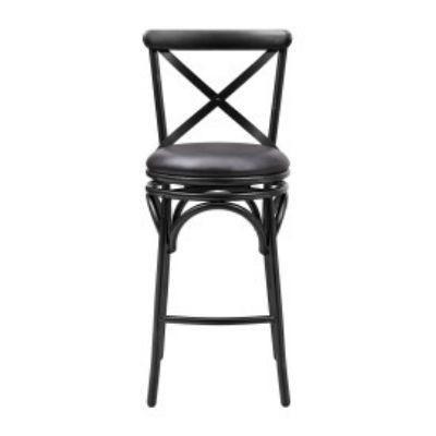 Pulaski Furniture X-Back Metal Upholstered Swivel Barstool (Black)