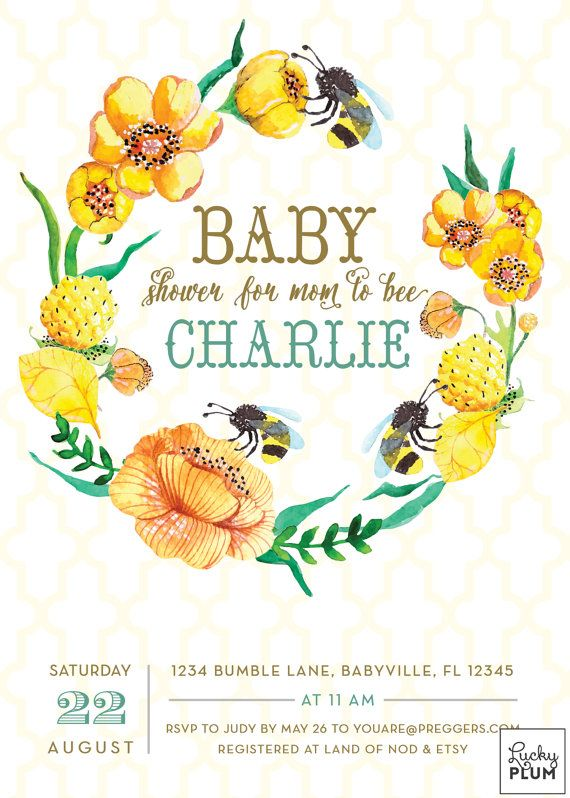 Bee Baby Shower Invitation / Bumble Bee Baby Invite / Yellow Flower Invite…