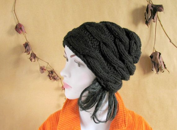 Slouchy Hat Slouch Beanie Cable Hat Beanie Women by recyclingroom