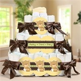This three tier diaper cake is super cute for your teddy bear baby shower.  A diaper cake is a lovely centerpiece and when the party is over parents get to keep all the much needed diapers.