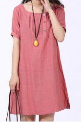 Casual Scoop Neck Solid Color Short Sleeve Dress For Women (WATERMELON RED,2XL)   Sammydress.com Mobile