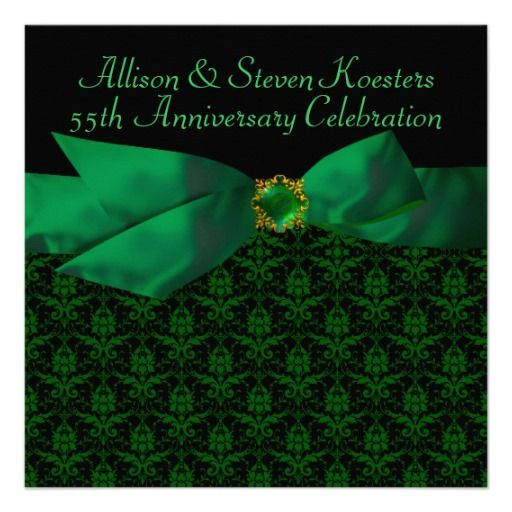 Emerald Green Damask 20th 55th Anniversary Party Personalized Announcement