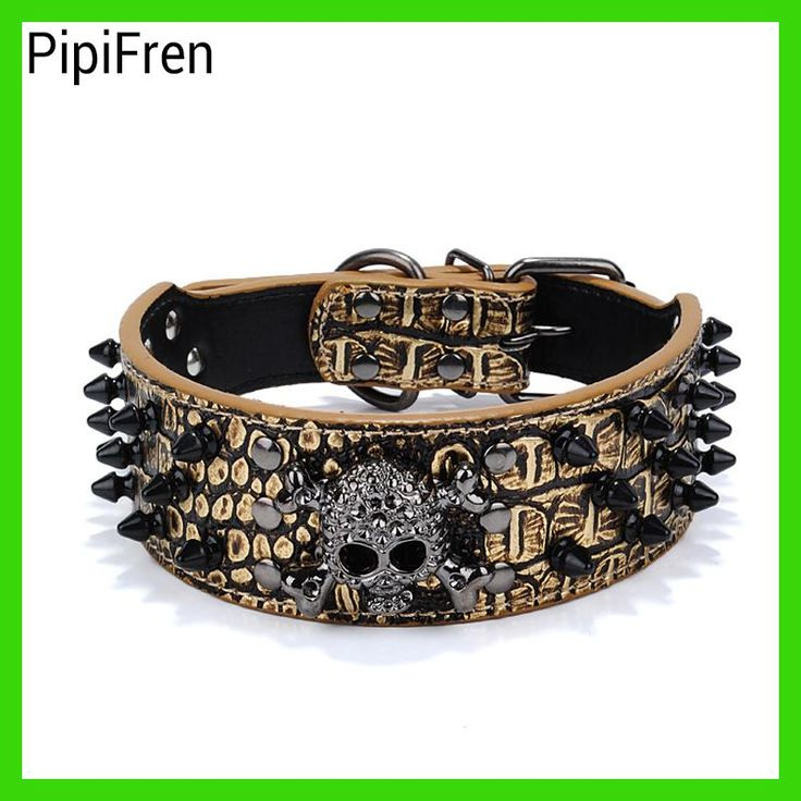 PipiFren Big Dogs Collars Spiked Accessories Supplies Rivet Leash For A Large Dog Pet Collar Necklace Shop halsband hond tasma