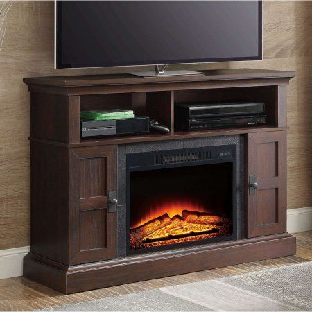 Whalen Media Fireplace Console for TVs up to 55 inch, Dark Cherry, Red